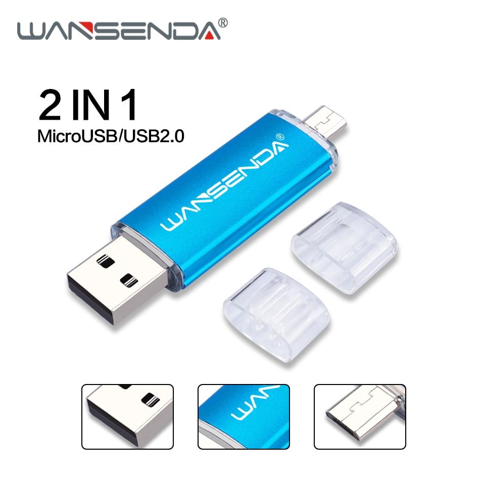 WANSENDA OTG 2 In 1 USB Flash Drive USB2.0 & Micro USB Pen Drive 16GB 32GB 64GB 128GB 256GB Pendrives Dual Cle USB Memory Stick