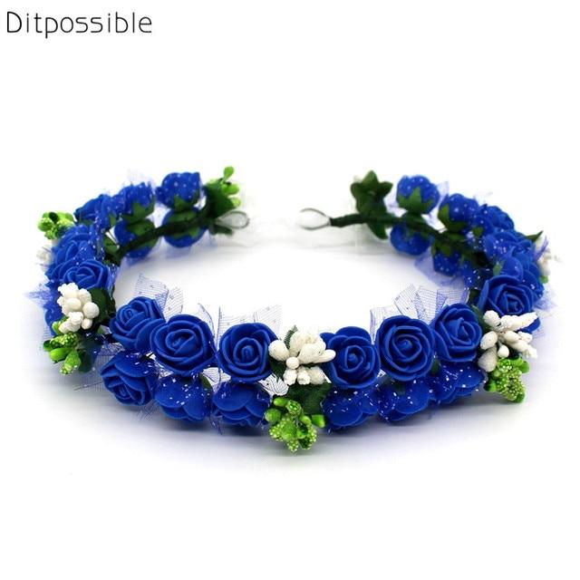 Ditpossible royal blue flowers headbands women bridal wedding hair  accessories floral corwn hairbands 234597c7f81