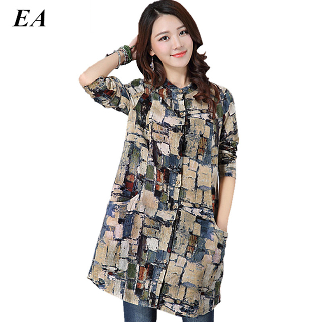 42fc0b5ce 2016 linho grande camisa blusa feminina Manga Comprida feminina Casual Blusa  Plus Size mulheres Estilo Casual