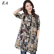 2016 Лен большой блузка рубашка женская с длинным рукавом Повседневная Блузка Плюс Размеры женщин Повседневное Стиль хлопковые рубашки