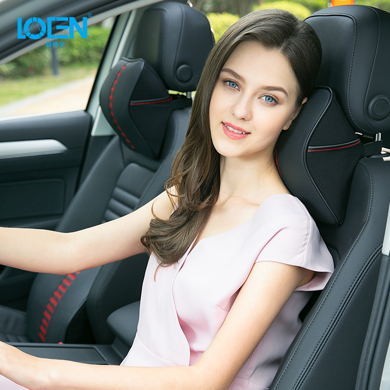LOEN Car Styling 3D Genuine Leather Memory Foam Leather Neck Pillow Headrest Back Lumbar Seat Support for Car Seat Black Blue