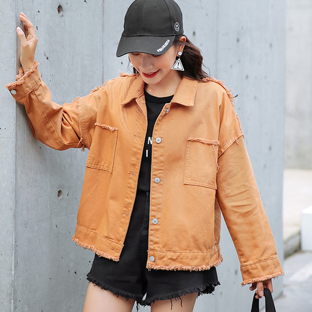 9cfece0ade1 Hot Punk Style Orange Loose Basic Denim Jackets Women Over Size Turn Down  Collar Autumn Jeans Jacket Coat Boyfriend Jacket Coat
