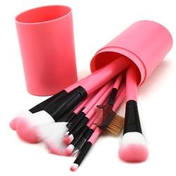 Bonne qualité femmes 12 pièces baril multicolore maquillage brosse ensemble lisse doux Taklon cheveux professionnel maquillage artiste brosse trousse à outils