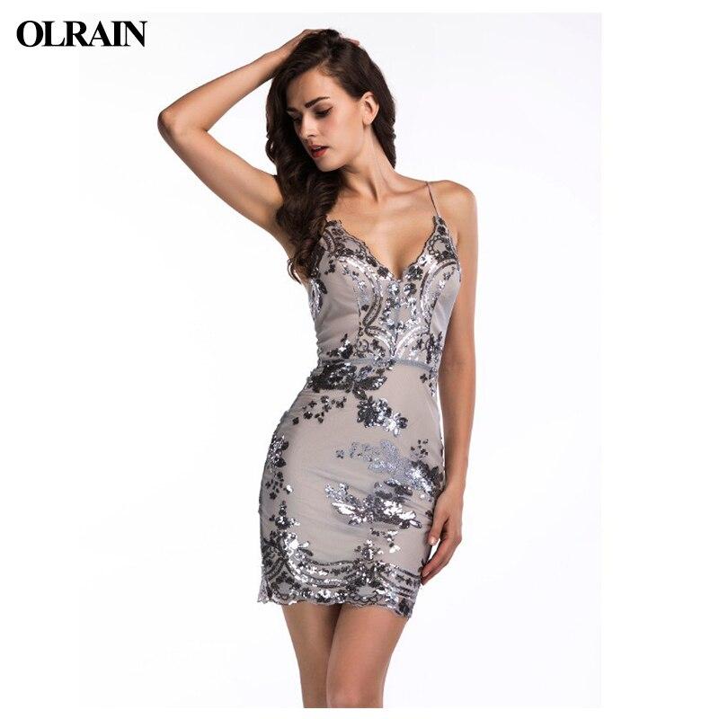 Olrain Women Gold Black Sequins Dress 2018 New Sexy V Neck