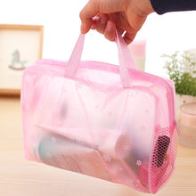 Make Up Organizer Bag Toiletry Bathing Storage Bag women waterproof Transparent Floral PVC Travel cosmetic bag(China)