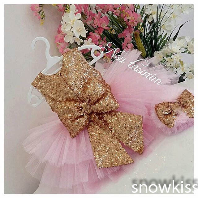 Bling Golden Sequin Blush Pink flower girls dresses glitz pageant dresses  for little girls baby Birthday Party Dress ball gowns f16ddca7e868