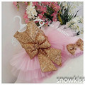 Bling Lantejoula Ouro Blush Rosa flor vestidos de meninas glitz pageant vestidos para as meninas do bebê Vestido de Festa de Aniversário vestidos de baile