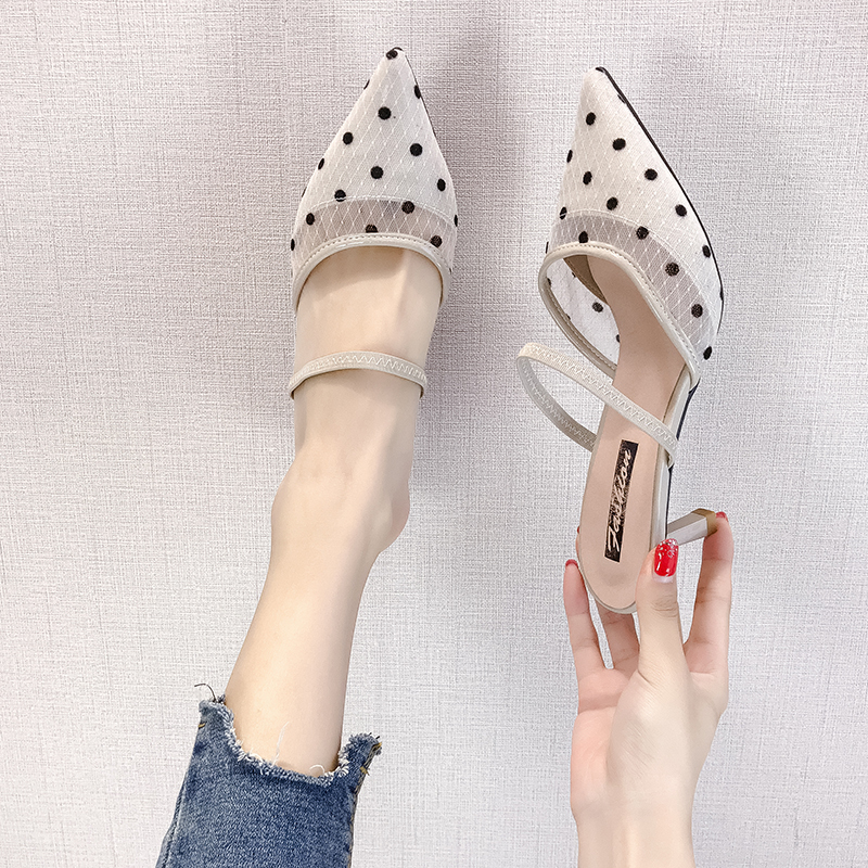 HKJL fashion women High heeled women 39 s sandals spring 2019 new wave dot mesh cloth baotou half sandals with a sandals A281 in Middle Heels from Shoes