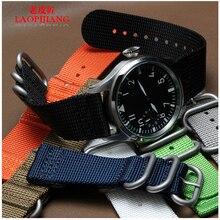 Laopijiang 22mm 24mm militar de la otan de nylon dos reloj de nylon correa de lona negro azul de color caqui gris grasa de alta clase