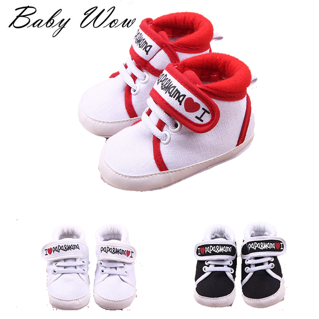 New Hot Sale 11-13cm I Love Papa Mama Baby Cute Soft Bottom Toddler Shoes First Walker Sport Kids Boys Girls Footware tyh-40375