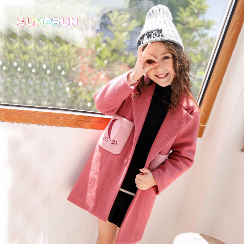 Fashion Brand Winter Girl Coat Solid Color Woolen Coat Pink Autumn Children's Clothes Comfortable Casual Girl's Clothing pink solid color off shoulder crop bodycon sweaters vests