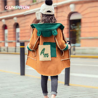 Fashion Winter Girl Clothing Stitching Deer Velvet Hooded Coat Thickening Girls Clothes Comfortable Warm Autumn Children clothes