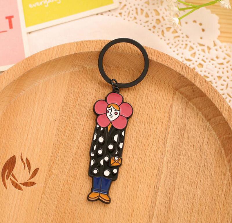 1 шт/лот милое мультяшное металлическое кольцо для ключей дамская