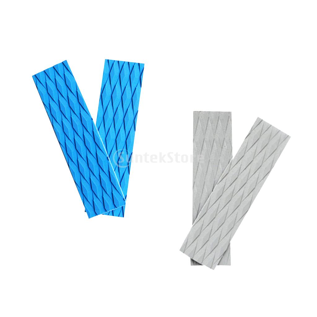 2 Pieces Adhesive Anti-slip EVA Surfboard Kiteboard Paddleboard Surf SUP Traction Pad Bar Deck Grips Tail Pads Sky Blue/Grey
