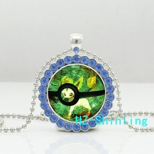 New Trendy Leafeon Pokeball Crystal Necklace Pokemon Pendants Anime Jewelry Glass Round Pendant Necklaces Silver Ball Chains