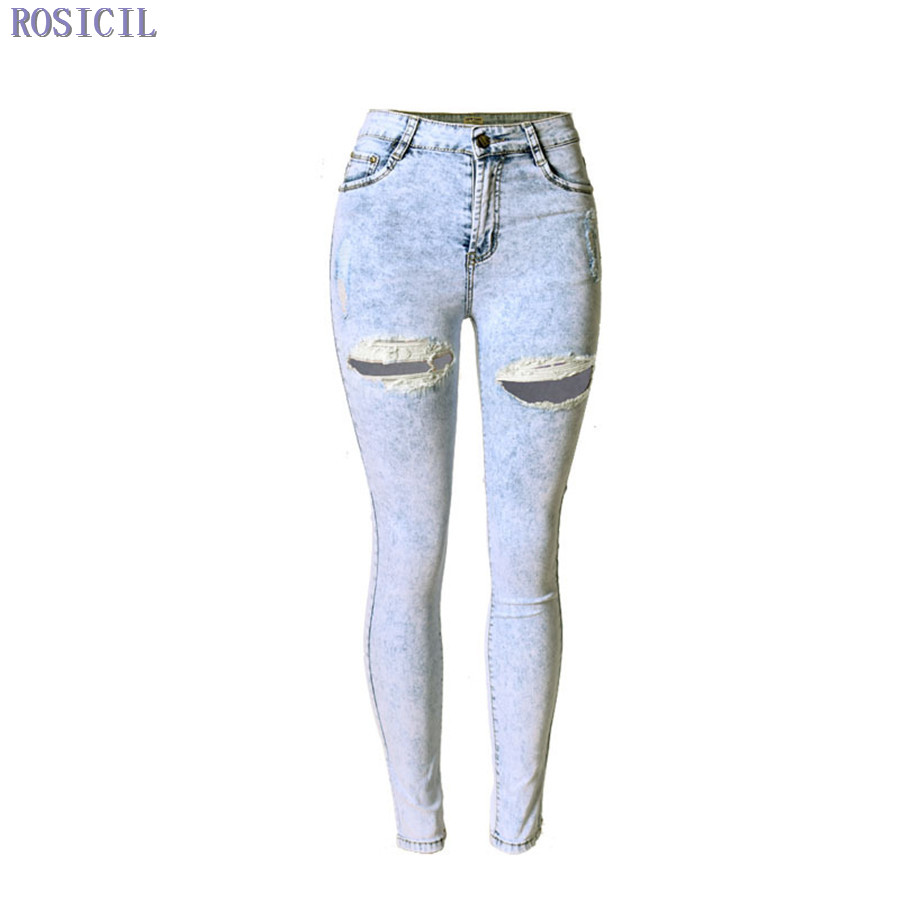 ROSICIL Autumn New Fashion Cotton Jeans Women Loose Hight Waist Washed Vintage Big Hole Ripped Long Denim Pencil Pants TOP002 spring new fashion cotton jeans women loose high waist washed vintage big hole ripped ankle length denim straight pants mz1535