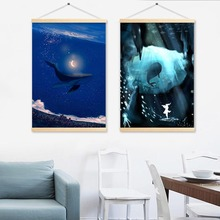 Blue Sea Whales Hanging Painting for Living Room Wall Decoration Shaft Scroll Canvas Paint Art Pictures