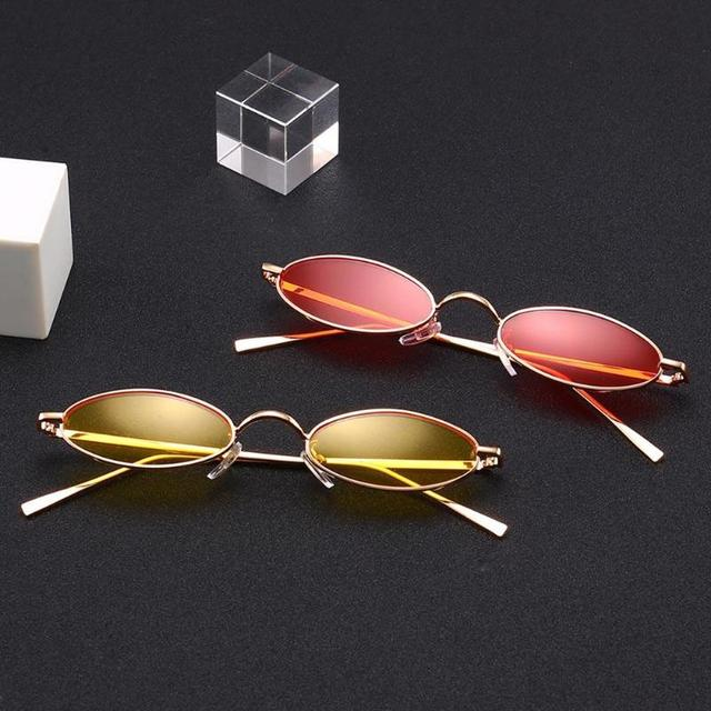 88e0a9a887e16 Fashion Vintage Modern Men Women Sunglasses Small Oval Frame Metal Retro Sunglasses  Beach Casual Unisex trendy Style Glasses