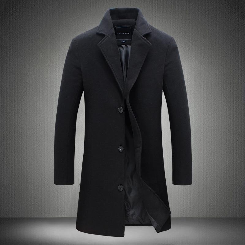 YuWaiJiaRen Autumn Winter Men's Single Breasted   Trench   Coat Turn Down Collar Fashion Long Windbreaker Solid Outwear Tops