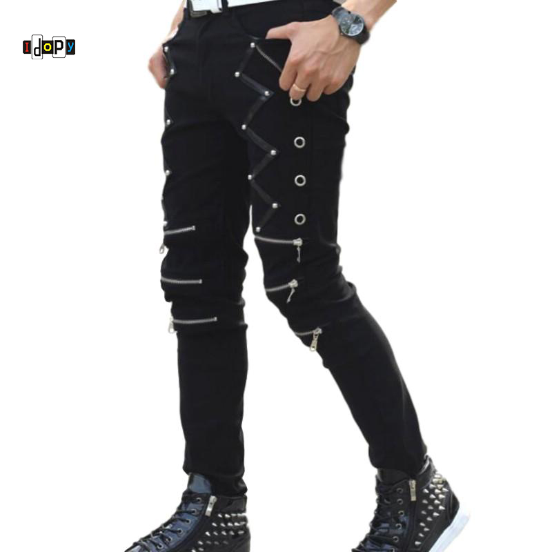Idopy New Arrival Spring Fashion Mens Punk Skinny Pants For Man Cool Cotton Casual Pants Zipper Slim Fit Black Goth Trousers