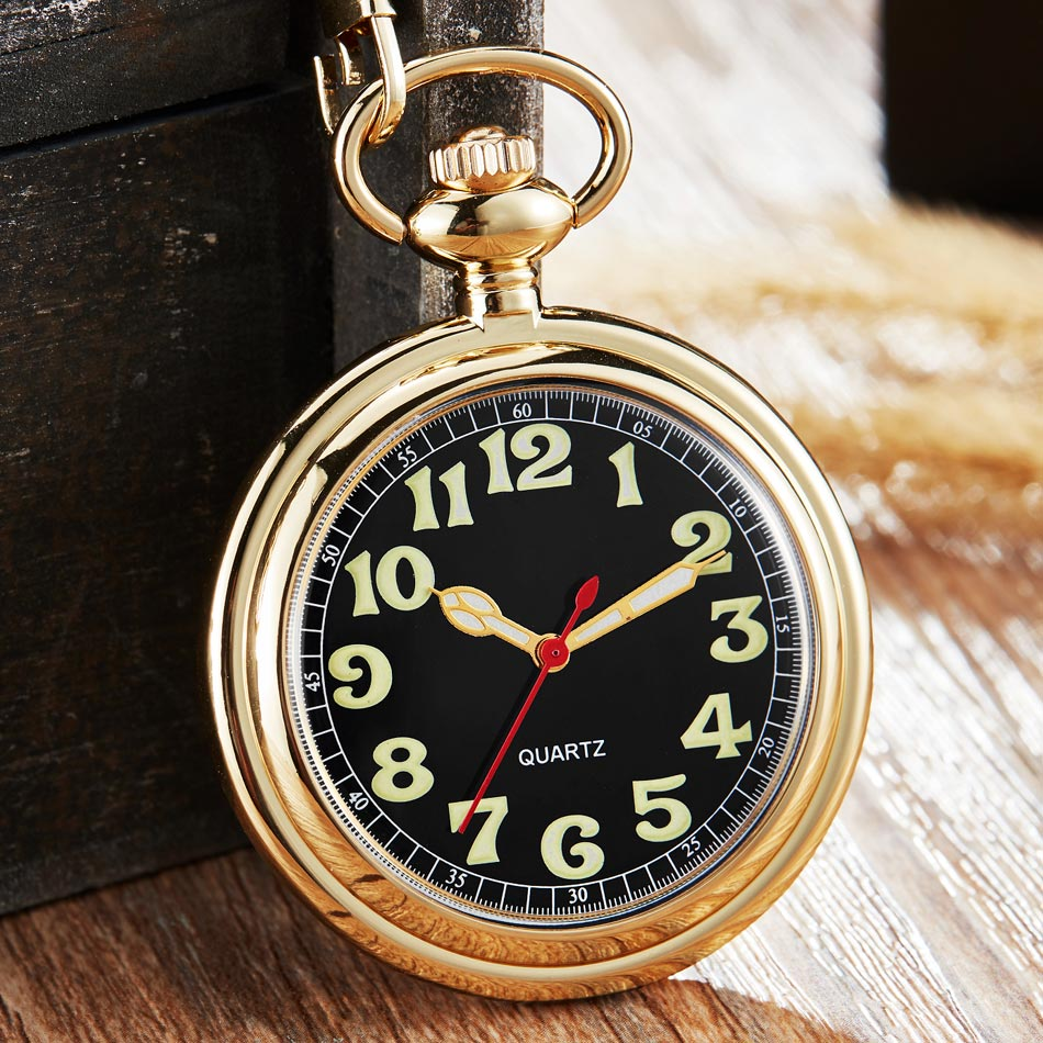 Golden Color Luminous Arabic Number Quartz Pocket Watch Women Man Gold Sliver Case Necklace Pendant Clock With Fob Chain Gifts
