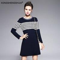 2017 Autumn Winter Women Dark Blue Dress Casual Appliques Straight Daily Wear Vestidos Plus Size S