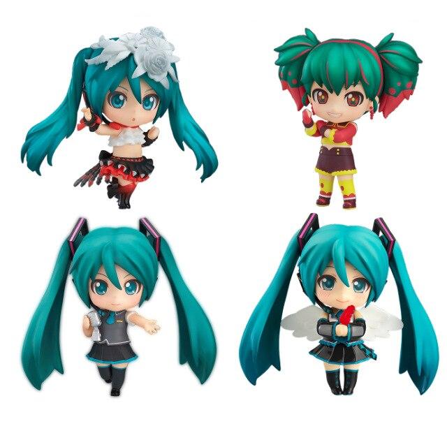 4 Design 10cm Cute Nendoroid Vocaloid Hatsune Miku Action Figure Model Collection Miku Doll Toys vocaloid 3 hatsune miku kaito cosplay shoes anime boots
