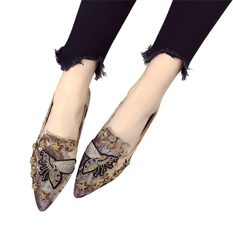 Noir D'été on Appartements Nouveau Slip Femme T Bout Femmes Chaussures Chaussure Souple Daim Talon Style Casual Broderie marron De Abeille Pointu kaki Dames fF5q5Rw