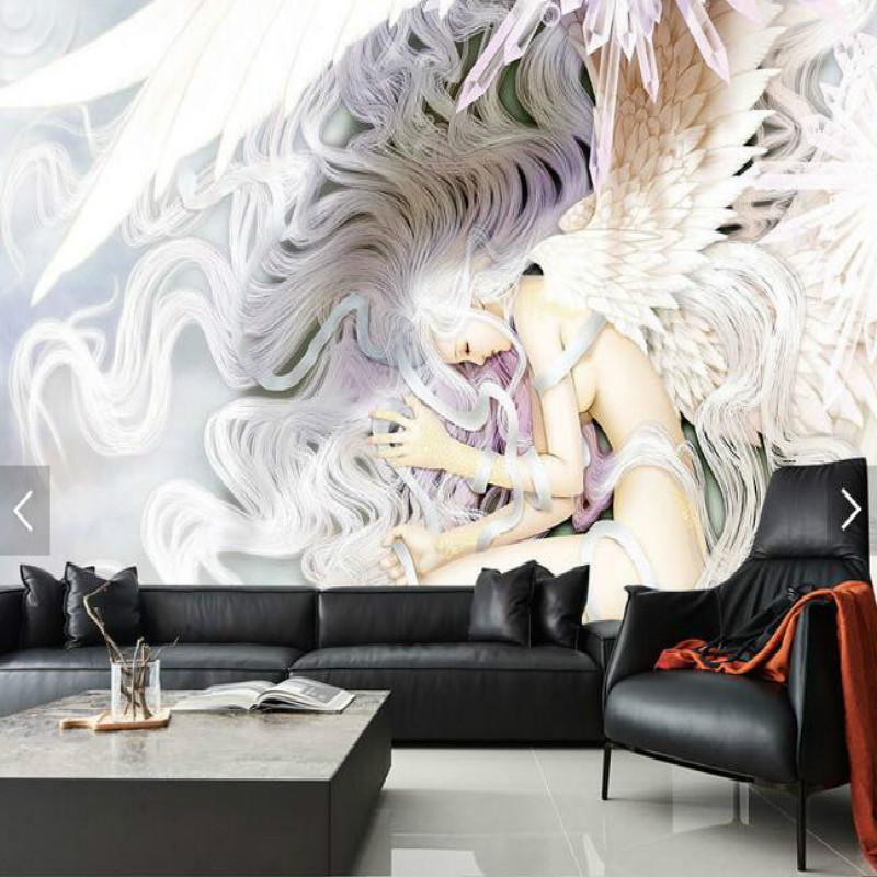 Hand - painted beautiful girl fantasy angel backdrop large murals living room paper bedroom study 3D wallpaper mario fantasy sky background 3d wallpaper murals living room bedroom study paper 3d wallpaper