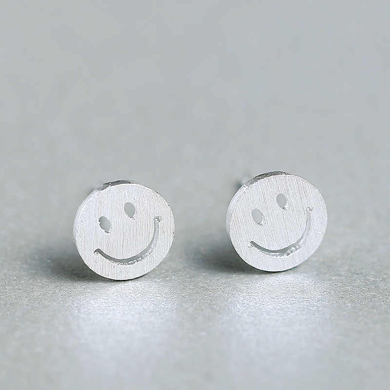 925 Sterling Silver Round Smile Stud Earrings For Women Gift Sterling-silver-jewelry Pendientes Mujer Female