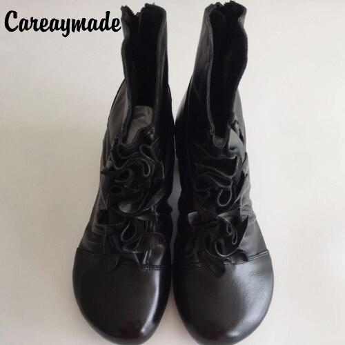 Zipper Véritable Black Chaude livraison Gratuite2017 Chaussures Hiver Bowknot Vente Style BottesEn Cuir Femmes Folklorique Femelle Careaymade Nouvelle Rétro vf7b6IgyY