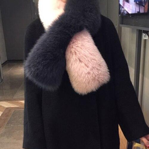 Nouveauté longue couleur correspondant rose bleu gris véritable fourrure de renard foulards hiver chaud évider super mignon fourrure de renard foulard