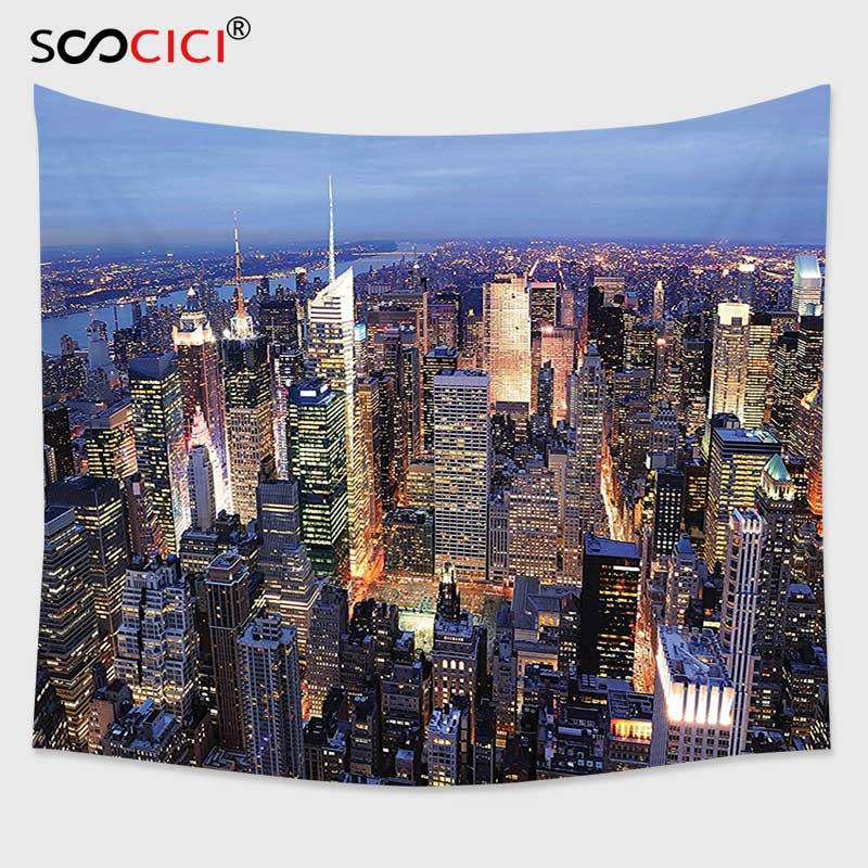 Cutom Tapestry Wall Hanging,New York Decor Aerial View of NYC Full of Skyscrapers Manhattan Times Square Famous Cityscape