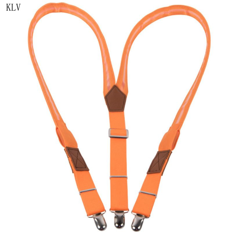Men Unisex LED Strip Light Up Suspender Y-Shape Candy Color Adjustable Trousers Running Riding Braces Strong Clip Party Supplies