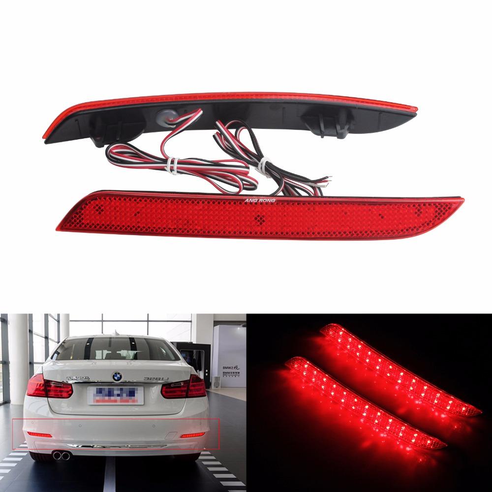 ANGRONG Red Rear Bumper Reflector LED Brake Light For BMW 3-Series F30 F31 F35 F34, 4-Series F32 F33 F36 (CA180)