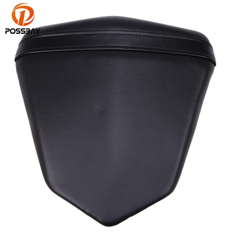 POSSBAY Black Leather Motorcycle Rear Seat Pillion Cover Scooter Passengers Cushion Seat For Yamaha YZF R6 2006-2007