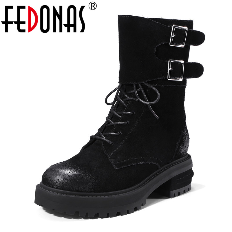 FEDONAS New Punk Women Mid Calf Boots High Heels Round Toe Casual Shoes Woman Platforms Motorcycle Boots Ladies Martin Shoes