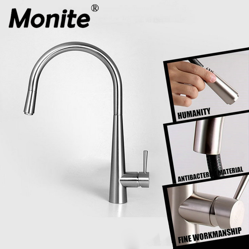 Pull Out & Rotated Kitchen Faucet Nickel Brush swivel kitchen sink Mixer tap kitchen faucet vanity Mixer Ta new design pull out kitchen faucet chrome 360 degree swivel kitchen sink faucet mixer tap kitchen faucet vanity faucet cozinha