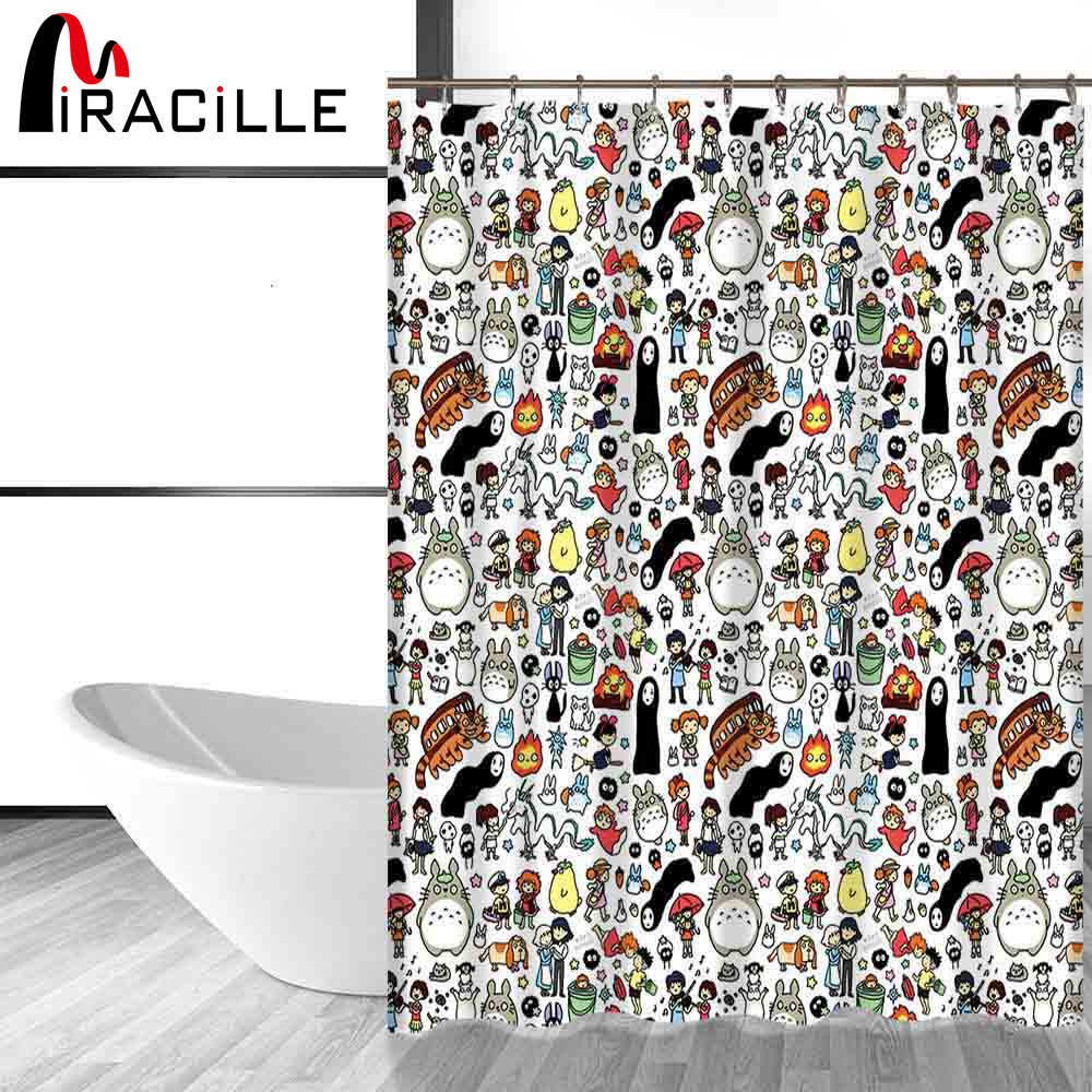 Miracille Totoro Cartoon Cute Shower Curtains Bathroom Decor Bath Curtains Waterproof Polyester Fabric Kid's Curtain 12hooks