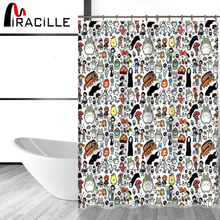 Miracille Totoro Cartoon Cute Shower Curtains Bathroom Decor Bath Waterproof Polyester Fabric Kids Curtain 12hooks
