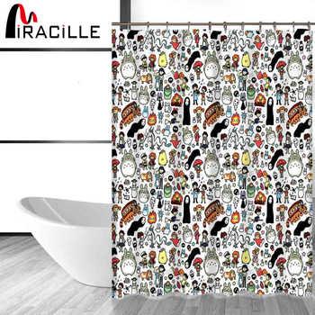 Miracille Totoro Cartoon Cute Shower Curtains Bathroom Decor Bath Curtains Waterproof Polyester Fabric Kid\'s Curtain 12hooks - DISCOUNT ITEM  20 OFF Home & Garden