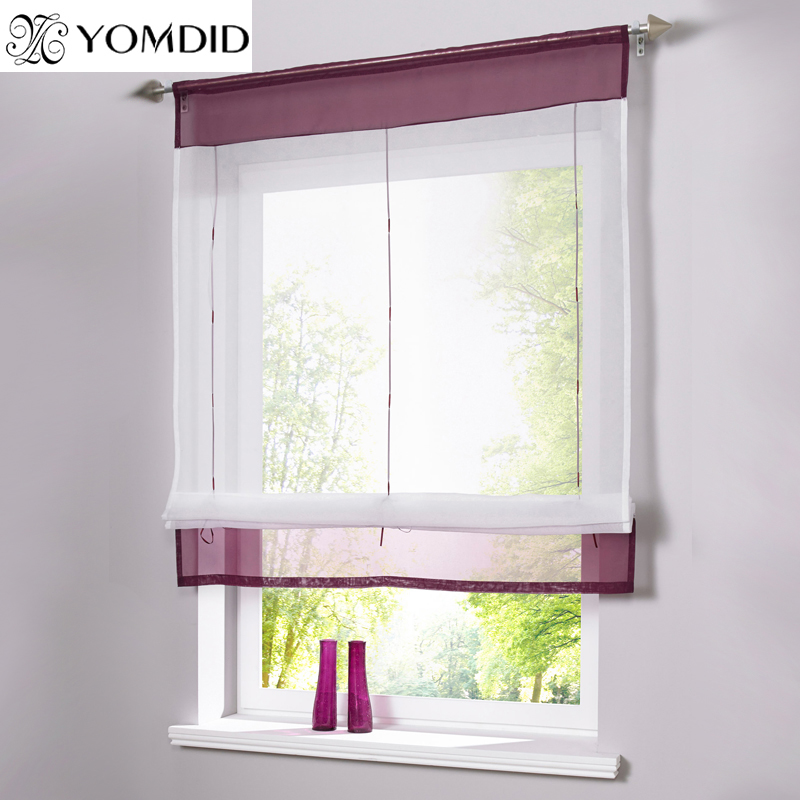 Pastoral Roman Curtains Solid Sheer Window Tulle Curtain For The Kitchen  Living Room Bedroom Windows Balcony Voile Short Curtain