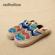 Summer Women Casual Shoes Flats Round Toe Flat Women Slippers Slip On Flat Shoes Femal Shoes Mujer Retro Ethnic Slippers Female