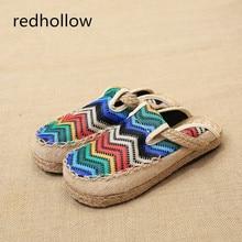 Summer Women Casual Shoes Flats Round Toe Flat Slippers Slip On Femal Mujer Retro Ethnic Female