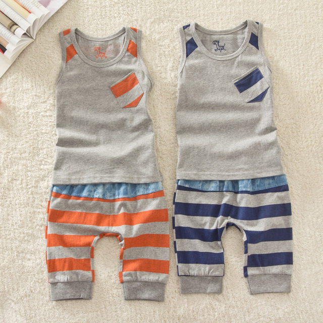 Boys Summer Clothes 2-9Year Striped Cotton Kids Clothing Sets Girl Vest+ Pant 2PC Beach Shorts Boys Short Trousers