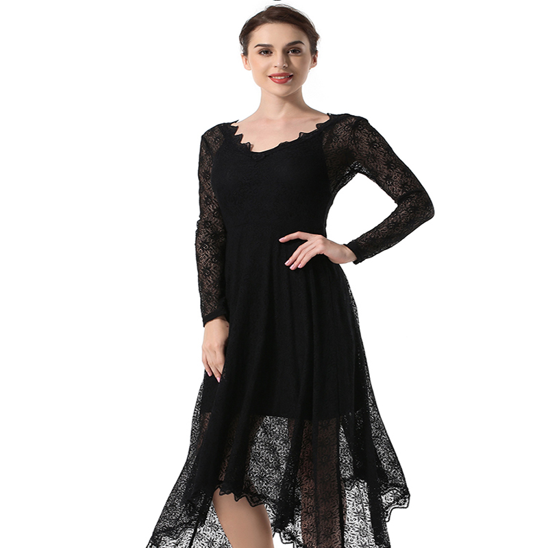 Women 39 s new lace irregular high end fashion long sleeved dress halter elegant ladies party dress in Dresses from Women 39 s Clothing