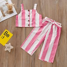 Summer Children Clothes Set Sleeveless Suspender Stripe Print Tops Vest+Pants Outfit Toddler girls summer clothes 1 2 3 4 Years(China)