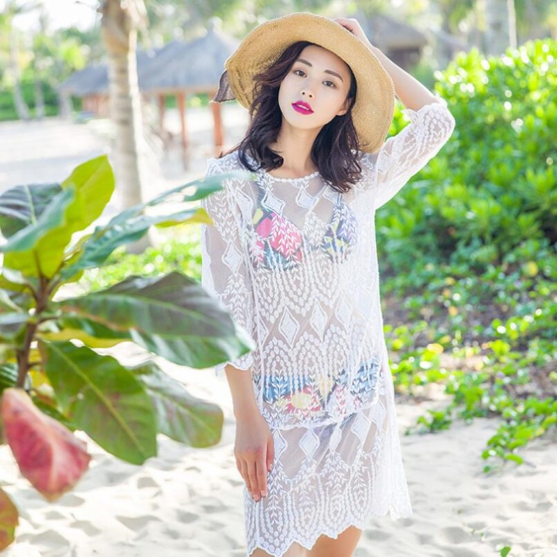 Summer Saida De Praia Feminino Cover-Ups 2019 Swimwear Dress Crochet Tunics For Beach Woman Maillot De Bain Beach Dresses Pareo