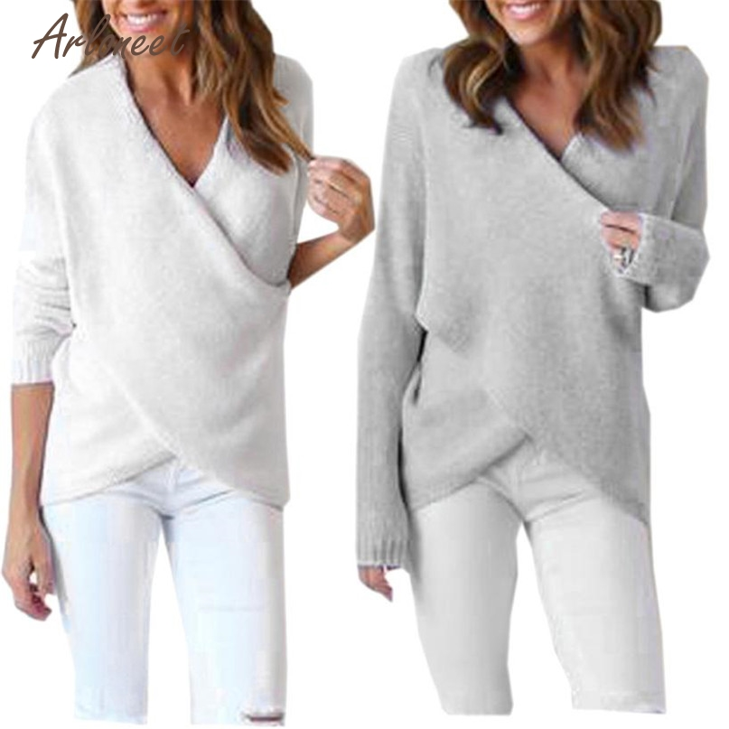 Arloneet Fashion 2 Colors Womens Long V-Neck Long Sleeve Loose Knitted Sweater Casual Jumper Tops 2017 Hot Dropshipping OB19