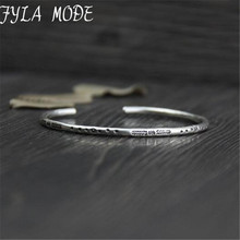 Fyla Mode Customized 3.20mm Thin 999 Thai Silver Cuff Bangle Bracelet For Women Carving Flower Engravable Wristband WT030